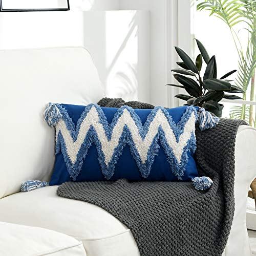 EAMAOTT Decorative Throw Pillow Cover with Tassels, 12×20 Inch Navy & White | Tribal Boho Chic Bohemian Style Tufted…
