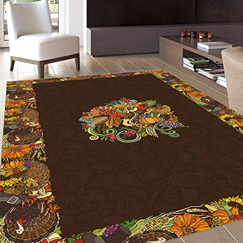 (Rug,Floor Mat Rug,Thanksgiving,Area Rug,Wreath Turkey Pumpkin Fall Festive Tradition Harvest Sunflower Grape Colorful,Home mat,6'x7'Black and White,Rubber Non Slip,Indoor/Front Door/Kitchen and Living)