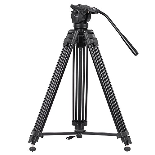 KINGJOY VT-2500 Mg-Al Alloy Video Photo Tripod Kit 360°Panorama Pan Fluid Ball Head for DSLR Camera Video Recorder DV Max Height 61 Inch Max Load 15KG by Andoer