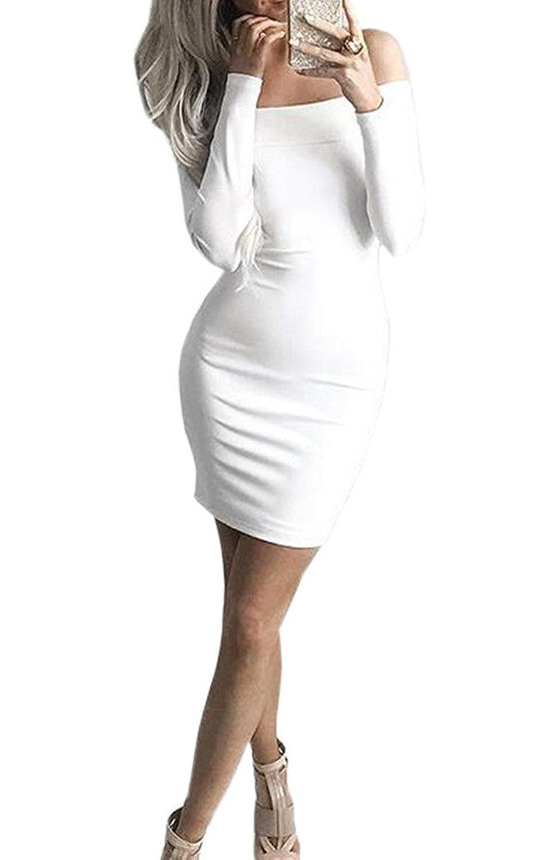 Lppgrace@ Women Sexy Long Sleeve Off Shoulder Bodycon Bandage Party Club Mini Dresses