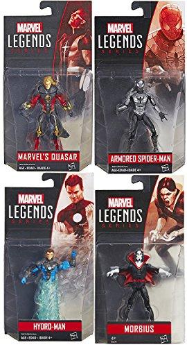 "Marvel Legends Spider-Man 4-Pack Figure Set 3.75"" Inch Armored Spider-Man / Hydro-Man & Morbius Vampire + Quasar Superhuman Energy Super Hero Set"
