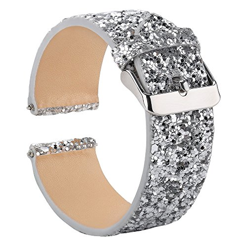 Gear S3 Bands for Women, 22mm Watch Band Quick Release, Moonooda Replacement Strap Glitter Sparkling Compatible with Samsung Galaxy Watch 46mm / S3 Frontier/Classic Watch, Silver