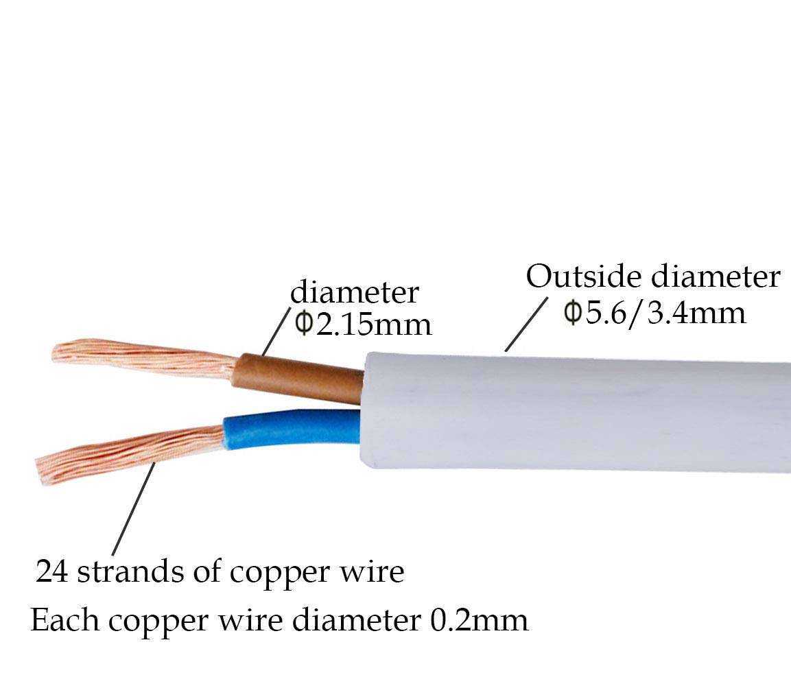 Electrical Wire 10 metre Cut Length Flexible Pond Cable 2 Core Flat Black PVC Mains Electrical Cable Copper Wire High Temperature Resistance 2 x 0.75 mm/² Power Cable Twin