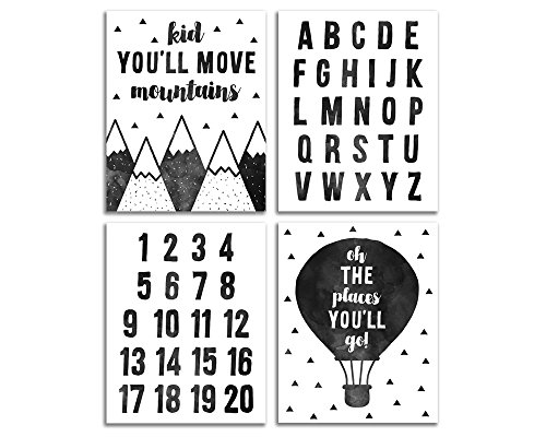 (Elegant Signs Adventure Nursery Wall Decor - Oh the places you'll go - Kid You'll Move Mountains)