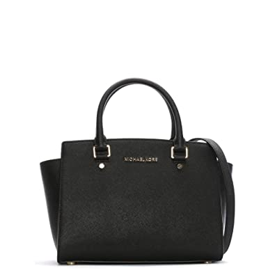ba619082cb61 Michael Kors Black Medium Selma Top Zip Satchel Black Leather ...