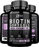 Pure Biotin 10000mcg + Organic Coconut Oil (180 Softgels | 10,000mcg) 6 Month Supply Biotin Supplement for Hair Growth + Skin and Nail Growth - Biotin Pills Hair Nails and Skin Vitamins for Women &Men