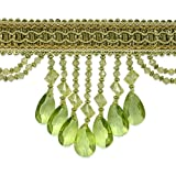 Expo International Isabella Scalloped Bead Fringe Trim, 10-Yard, Sage Multi