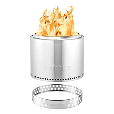Solo Stove Bonfire Stainless Steel Wood Burning Low Smoke Bonfire with Stand and Fire Pit Cover, Large 19.5 inch