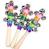3PCS Baby Rattle Rainbow Toy kid Pram Crib Handle Wooden Activity Bell Stick Shaker Rattle Baby Gift