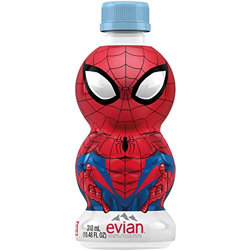 - evian Natural Spring Water Spider-Man Edition 310 ml 10.48 Ounce 24 Count, Naturally Filtered Spring Water in Individually-Sized Spider-Man Water Bottles