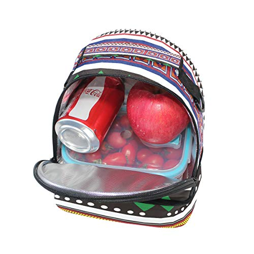 la impresión Bolso aislamiento bohemio étnico pincnic el para geométrica hombro de correa para escuela FOLPPLY de de vintage con almuerzo con de con ajustable 770gqwrtR