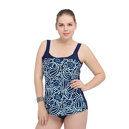 WanYang Mujer Elegante Oversize Retro Dos Piezas Bikini Trajes De Baño Azul Oscuro