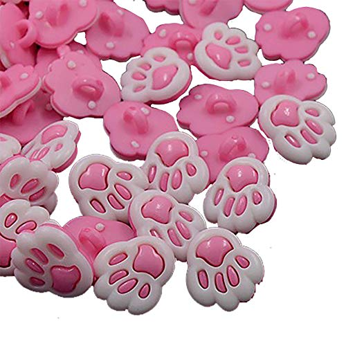 Dog Paw Buttons, Shank, Sew On, Mixed Colors (3/4