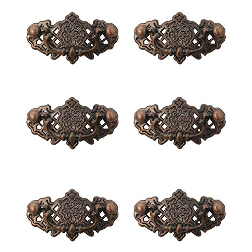 Dresser Drawer Bail Pull Handles Vintage-Style Furniture Hardware Cabinet Door Knobs Antique Copper Finish 38mm X 68mm - 6PACK