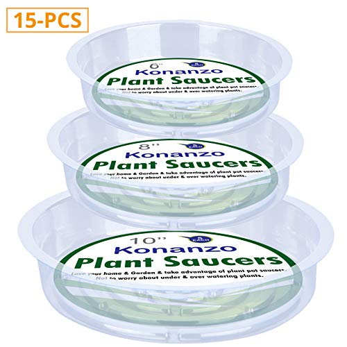 Konanzo Plant Saucer 15 Pack of Clear Plastic Saucers Drip Trays in Assorted Sizes (6 inch/8inch/10inch) Flower Pot Tray for Indoors & Outdoor Plants or Planter pots.