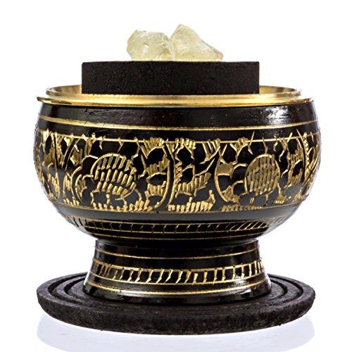 Alternative Imagination Premium Copal Burning Kit (with Tibetan Incense Burner or Brass Screen Burner) (Black Brass)