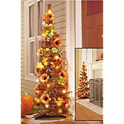 "52"" LED Lighted Harvest Fall Thanksgiving Pop Up Collapsible Colorful Maple Leaves Autumn Tree Decoration (1)"