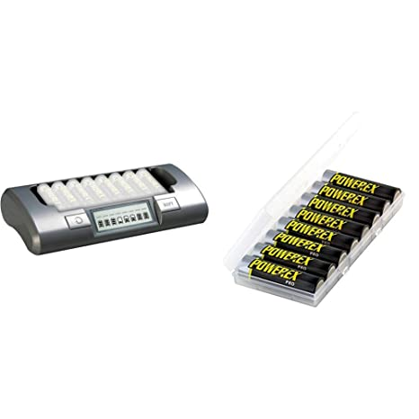 Powerex MH-C800S 8-Cell Smart Charger for AA / AAA NiMH / NiCD & PRO High Capacity Rechargeable AA NiMH Batteries (1.2V, 2700mAh) - 8-Pack, ...
