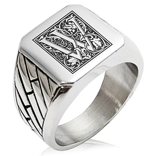 (Two-Tone Stainless Steel Letter W Alphabet Initial Floral Box Monogram Engraved Geometric Pattern Biker Style Polished Ring, Size 12)