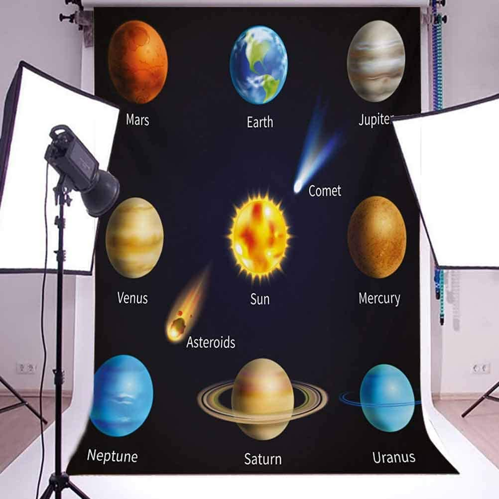 Realistic Solar System Planets and Space Objects Asteroids Comet Universe Space Background for Baby Shower Bridal Wedding Studio Photography Pictures Multicol Educational 6x8 FT Photography Backdrop
