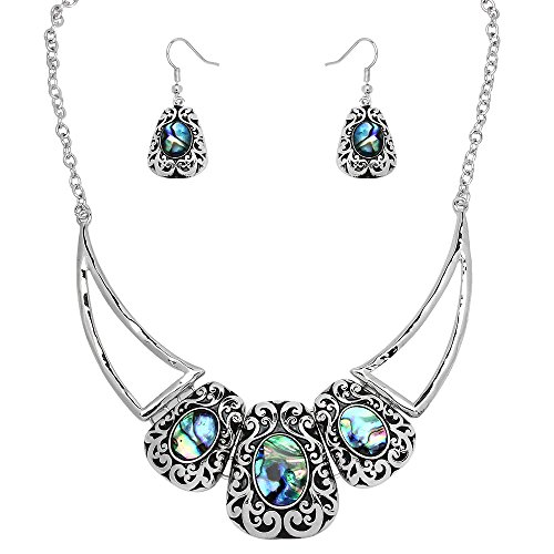 (Falari Abalone Shell Necklace Earring Set High Polished 17 inch Chain S0050 )
