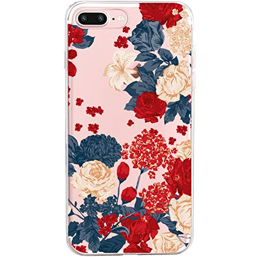 iPhone 7 Plus&8 Plus Case,Flyeri Crystal Fashion Floral Pattern Transparent Clear Soft silicone TPU Ultra thin Phone cover back cases For apple iPhone 7 Plus&8 Plus (1) ()