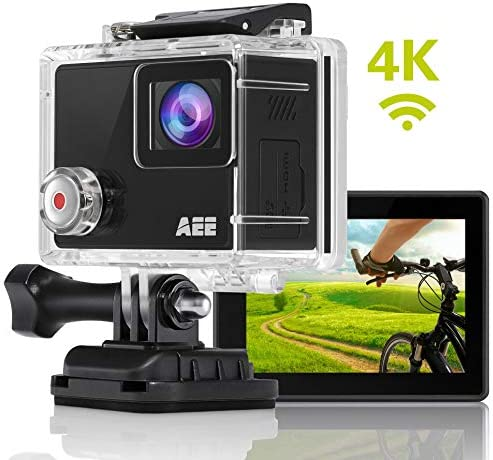 AEE Shadow Action Camera 4K 1080P HD 16MP with Touch Screen, 140 Wide Angle Lens with 4X Digital Zoom, 40m Portable Underwater Waterproof Sports Camera, Mounting Accessories Kit