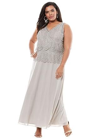 9a8e6f656f8 Pisarro Nights Women s Plus Size Scallop Beaded Dress by Pisarro Nights at Amazon  Women s Clothing store