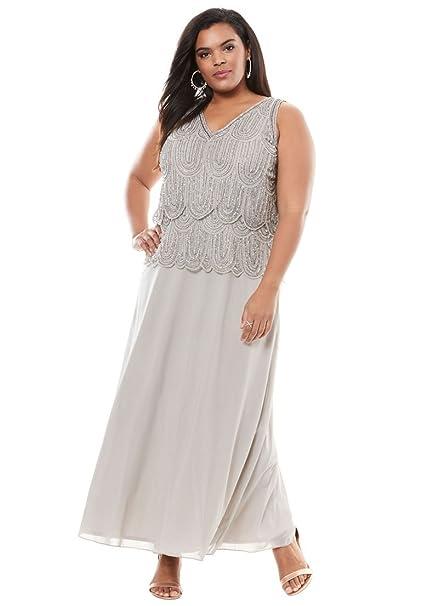 Pisarro Nights Womens Plus Size Scallop Beaded Dress By Pisarro