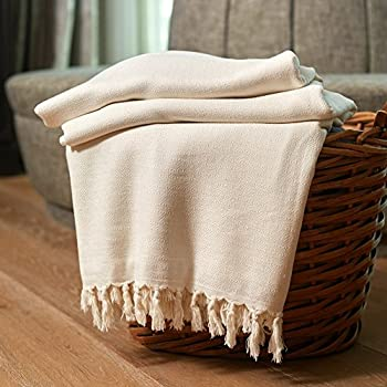 """Organic Bamboo Throw Blanket Ultra Soft Natural Premium for Couch Sofa Bed with Handmade Tassels - 92""""L x 64""""W (Natural / Ivory)"""