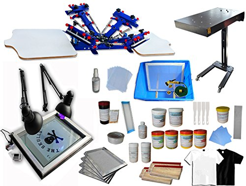 4 Color 2 Station Screen Printing Kit Press Full Set Starter Bundle Kit