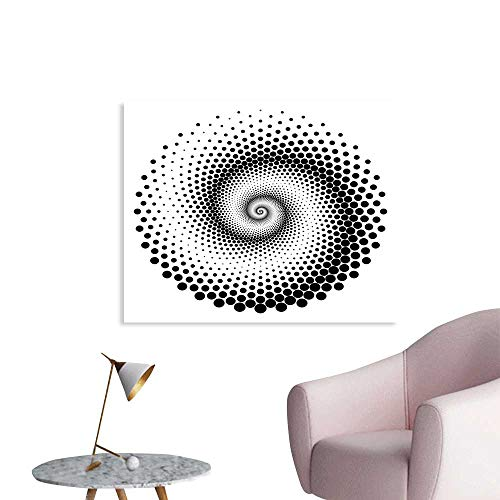 Optical Dots Wallpaper - J Chief Sky Abstract Wall Paper Black Dots Forming a Spiral Shape Monochrome Circle Twist Optical Art Elements Decor Sticker W48 xL32