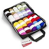 Mind My Thread 20 Super Soft Acrylic Yarn Skeins Set | Assorted Colors Crochet & Knitting Craft Yarn Kit with Reusable Storage Bag & Bonus Crochet Hook | 20 Colors Yarn Multi Pack