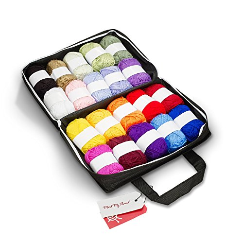 Mind My Thread 20 Super Soft Acrylic Yarn Skeins Set | Assorted Colors Crochet & Knitting Craft Yarn Kit with Reusable Storage Bag & Bonus Crochet Hook | 20 Colors (3 Crochet Yarn)