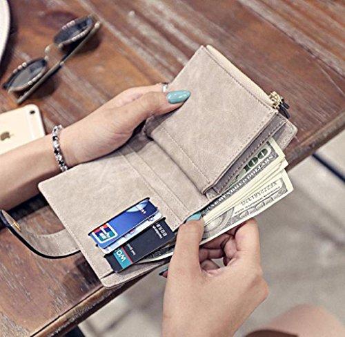 Covermason Frauen Leder Geldbörse Gewebte Muster Kurz Brieftasche Karte Tasche (Schwarz) Grau