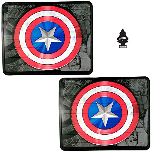 A Pair of New Design Marvel Superhero Captain America Auto Truck SUV Car Rear Utility Floor Mats Set with Air Freshener