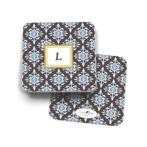 Blue and Chocolate 'Floral' Set of 24 Monogrammed 'L' Paper Coasters - Monogrammed Coasters L