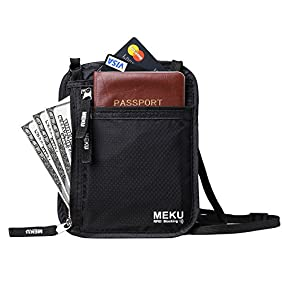 MEKU RFID Blocking Neck Stash Travel Wallet Passport Holder Hidden Pouch