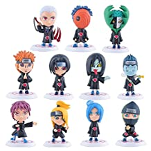 Japanese Anime Naruto Figures Collection Figurines 11Pc Set, Akatsuki Group Kakashi Uzumaki Naruto Sasuke