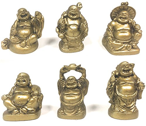 Amlong Crystal Laughing Buddha Figurine 2 inch Statue, 6 Piece Set, Gold (Gold Buddha Statue)