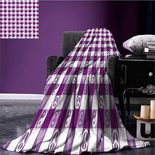 RenteriaDecor Plaid Lightweight Blanket Plaid Pattern with Hearts Ying Yang and Sign of Peace Pax Cultura Theme Oversized Travel Throw Cover Blanket Magenta Lavender White Bed or Couch 80