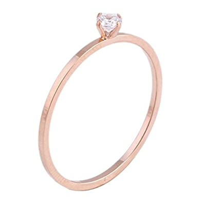 e99d17be48a7f Fashion Month Womens Rose Gold Stainless Steel Simple Style Thin Wedding  Ring Cubic Zirconia Engagement Promise Band