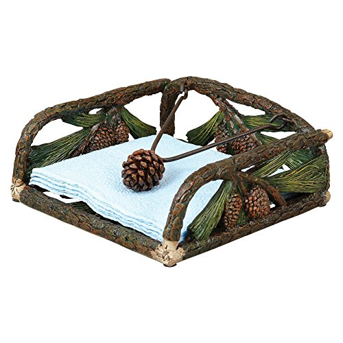 - Pinecone Sculpted Rustic Napkin Holder - Lodge Kitchen Decor