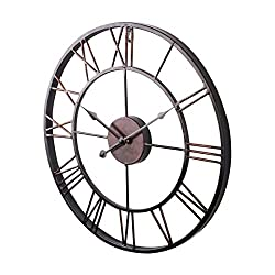SODIAL(R) Extra Large Vintage Style Statement Metal Wall Clock Country Style - Chocolate color