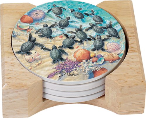 (CounterArt Turtle Hatchlings Design Round Absorbent Coasters in Wooden Holder, Set of 4)