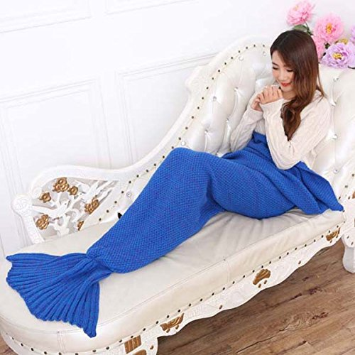 Oriental eLife Handmade Knitted Mermaid Tail Blanket ,Sofa Quilt Living room blanket Mermaid Blanket for Adults and Kids 195cmX90cm£¨77 inch x35.4 inch )(Blue) Quilt Cardigan