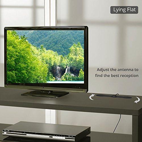 Antop papel fino at-140 Indoor TV antenna- 25 Mile Range – recepción multidireccional patrón – Compatible con televisores de alta definición/4 K UHD TV – negro – 7 ft coaxial cable: Amazon.es: Electrónica
