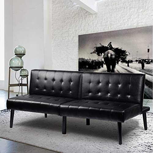 Futon Convertible Sofa Bed Loveseat Couch Faux Pu Leather