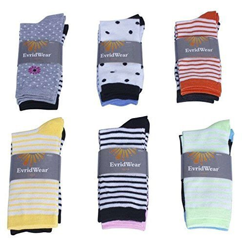 EvridWear Multi-Colored Crew Socks Variety Style 12 Pair Pack with Polka Dots, Stripes and Flowers Print Patterns ()