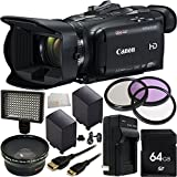 Canon VIXIA HF G40 Full HD Camcorder 13PC Accessory Kit. Includes 64GB Memory Card + 2 Replacement BP-827 Batteries + AC/DC Rapid Home & Travel Charger + 3PC Filter Kit (UV-CPL-FLD) + 0.43 Wide Angle Lens + 160 LED Video Light + MORE - International Version (No Warranty)